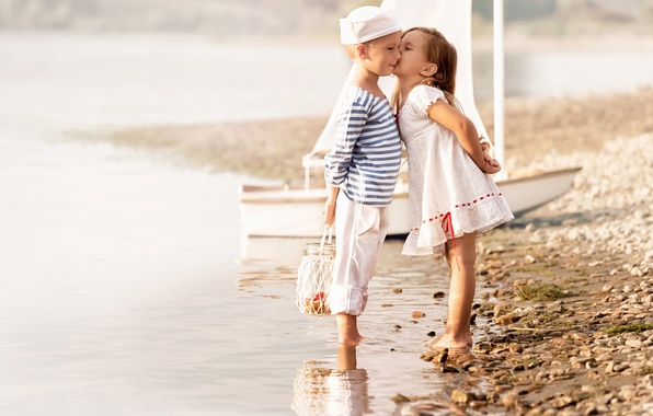 Picture sea, beach, children, kiss, boy, dress, friendship, girl, girl, beach, dress, sea, kiss, boy, sailors, …