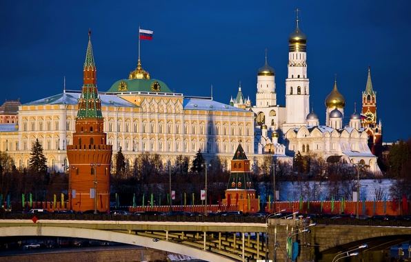 Picture bridge, the city, Wallpaper, Moscow, flag, the Kremlin, wallpaper, Russia, Moscow, capital