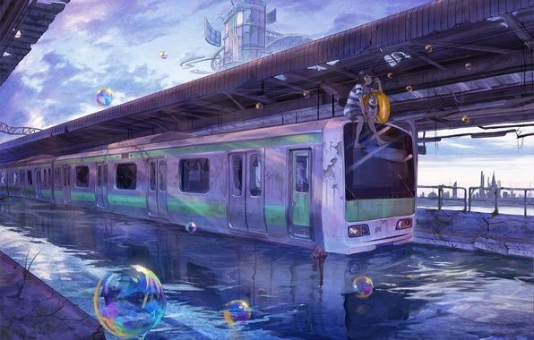 Picture the sky, water, girl, the city, bubbles, building, train, dog, anime, art, lalil-the