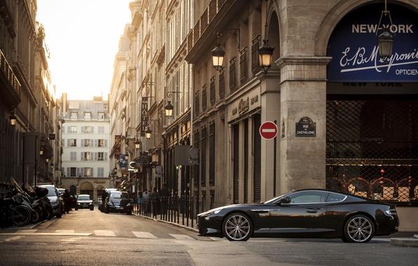 Picture Aston Martin, street, building, Turn, side view, Aston Martin, Virage
