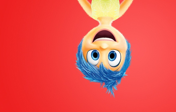 Picture girl, character, dress, blue eyes, happiness, adventure, upside down, emotions, blue hair, 2015, Joy, Pixar …