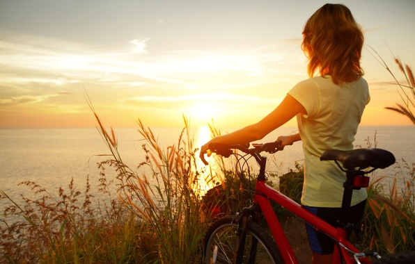 Picture sea, wheat, the sky, water, girl, the sun, clouds, sunset, nature, bike, reflection, river, background, ...