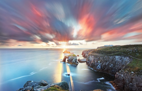 Picture summer, the sun, rays, light, rocks, shore, the evening, arch, July, South West England, Cornwall