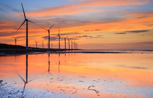 Picture the sky, water, clouds, sunset, orange, Strait, reflection, blue, shore, the evening, Taiwan, windmills, stranded, …