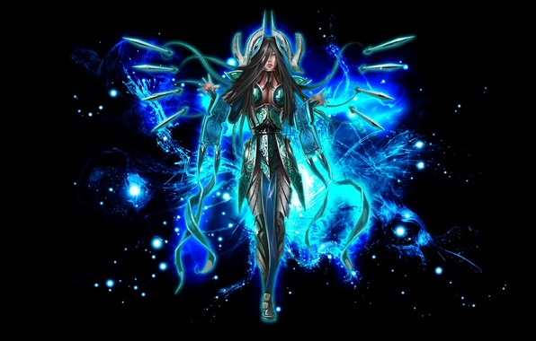 Picture girl, weapons, the game, armor, warrior, league of legends
