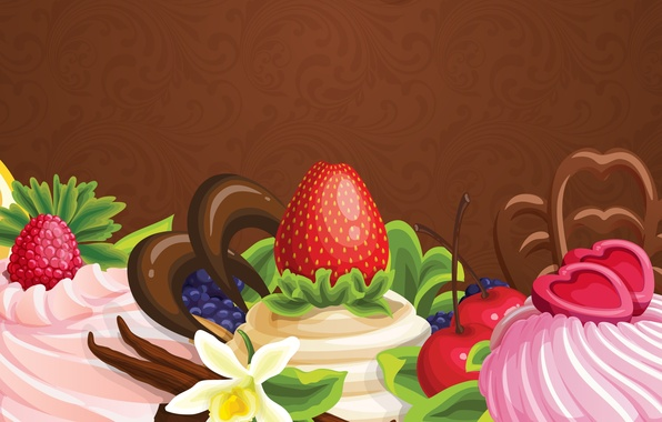 Picture flowers, abstraction, berries, the sweetness, chocolate, cake, fruit, cream, flowers, chocolate, abstraction, fruits, cream, cakes, …