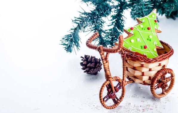 Picture bike, New Year, cookies, Christmas, Christmas, herringbone, New Year, braided, Xmas, cookies, Merry, 2016, Yuliya …
