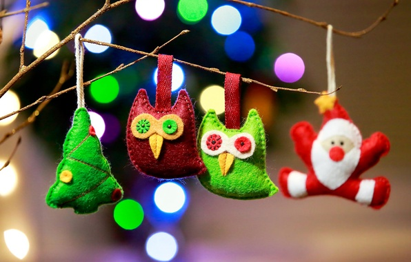 Picture decoration, branches, lights, holiday, toys, Christmas, New year, lanterns, bokeh