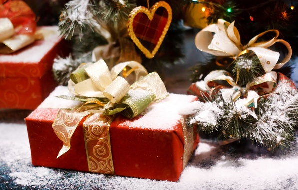 Picture snow, holiday, box, gift, tree, new year, spruce, tape, new year, bow, red, heart