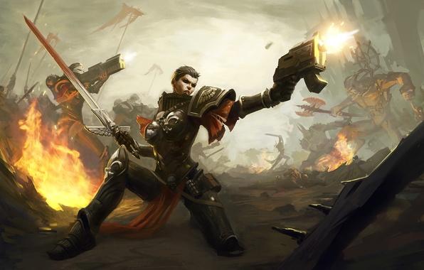 Picture gun, war, woman, sword, warhammer 40000, sisters, Sisters of Battle, Warhammer 40K