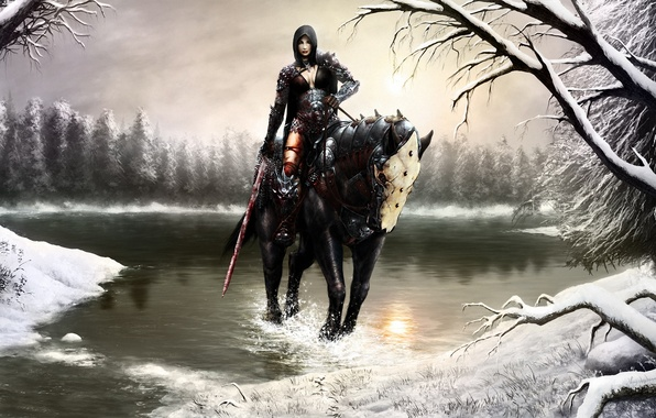 Picture winter, forest, girl, snow, squirt, lake, horse, blood, sword, art, hood