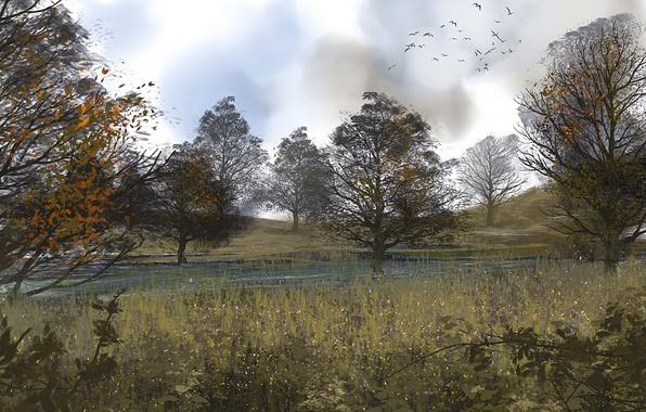 Picture autumn, birds, nature, art