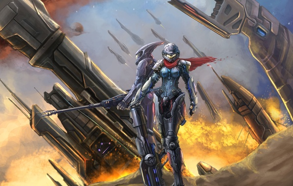 Picture girl, metal, weapons, fire, ship, robot, the suit, art, trunk, park jae-cheol