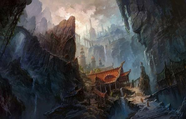 Picture mountains, bridge, rocks, China, building, waterfall, ladder