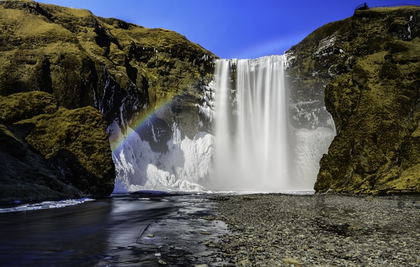 Picture river, rocks, rainbow, Iceland, Iceland, the waterfall Skogarfoss, Skogafoss