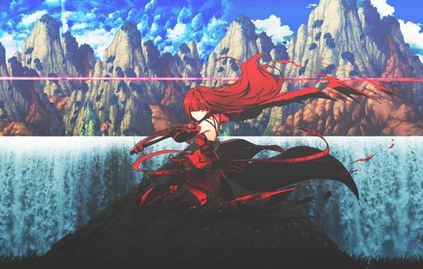 Picture girl, mountains, nature, weapons, sword, anime, art, dinocojv