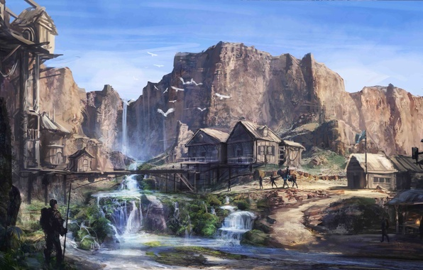 Picture river, people, rocks, waterfall, home, art, oasis, settlement