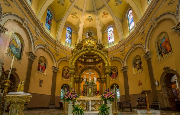 Picture flowers, Church, stained glass, the dome, the altar