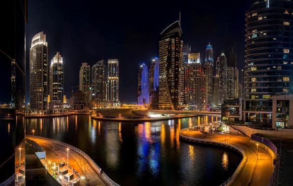 Picture road, sea, night, bridge, the city, building, skyscrapers, Dubai, Dubai, skyscrapers, UAE