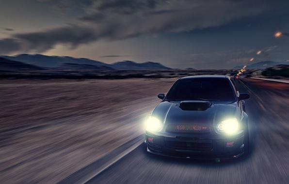 Picture glare, speed, Subaru, Impreza, blur, black, WRX, black, front, Subaru, Impreza, STi