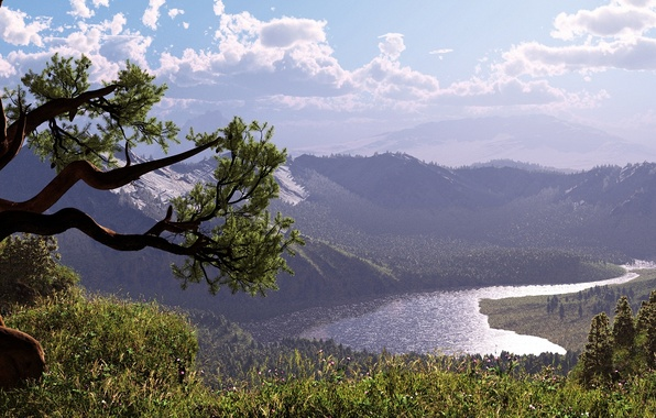 Picture the sky, grass, mountains, river, tree