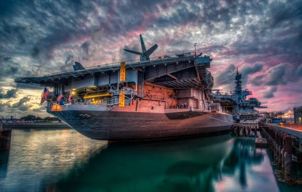Picture Sunset, San Diego, Bay, USS Midway