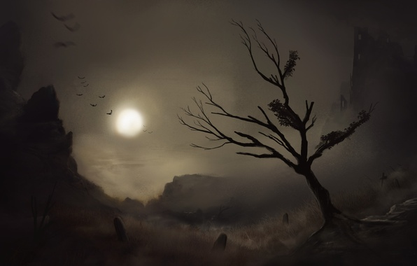Picture birds, night, tree, the moon, art, painted landscape