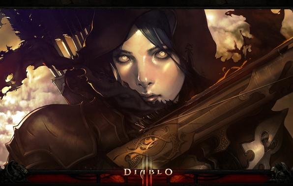 Picture girl, face, art, hood, girl, arrows, Diablo 3, Diablo III, shooter, face, crossbow, arrows, digital …
