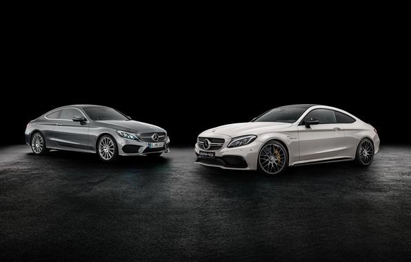 Picture coupe, Mercedes-Benz, black background, Mercedes, Coupe, C-Class, C205