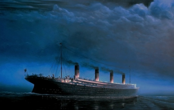 Picture The sky, Clouds, Reflection, Sea, Night, Figure, Liner, Titanic, The ship, Side view, On The ...