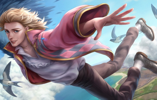 Picture flight, birds, wing, guy, Howl's moving castle, Howl's Moving Castle, Howl