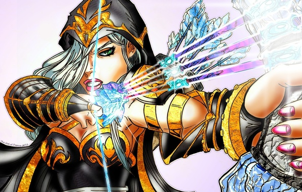 Picture look, girl, face, art, Ashe, ice arrows, league of Legends