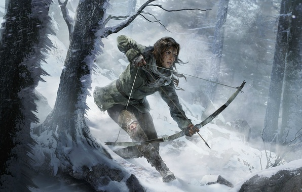 Picture Winter, Girl, Trees, Snow, Bow, Lara Croft, Art, Lara Croft, Arrow, Rise of the: Tomb …
