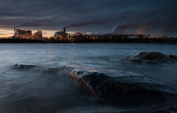 Picture lights, lake, smoke, Sweden, Vänern, chemical factory, the town of Skoghall, David Olsson Photography, in …