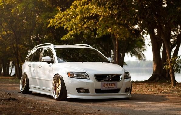 Picture Volvo, Machine, Tuning, White, Volvo, Car, Car, White, Tuning, Stance, Slammed, F50, V50