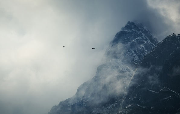 Picture clouds, snow, mountains, birds, The Himalayas, Nepal