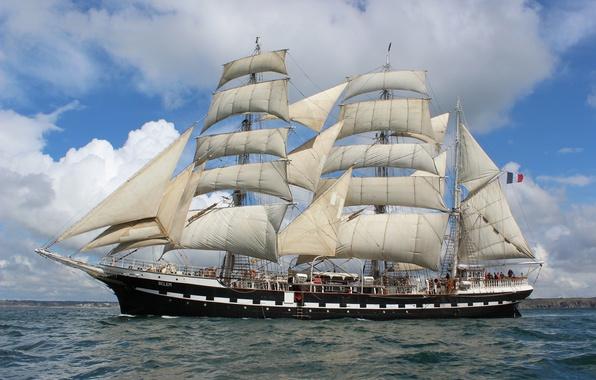 "Picture sea, wave, France, sailboat, flag, sails, military, mast, rigging, ""Bel"", waving"