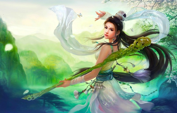 Picture girl, the game, art, China, staff, skill, fantasy