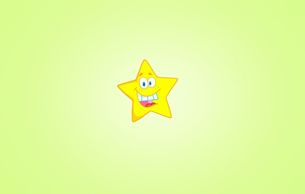 Picture smile, star, minimalism, light background, yellow