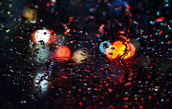 Picture water, drops, light, rain, Windows, bokeh