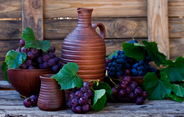 Picture leaves, berries, wall, wine, Board, grapes, pitcher, bunches