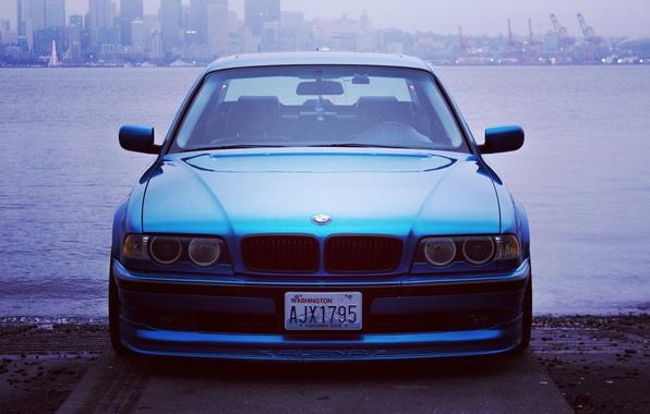 Picture the city, lights, tuning, bmw, BMW, promenade, e38, stance, 750il, bimmer