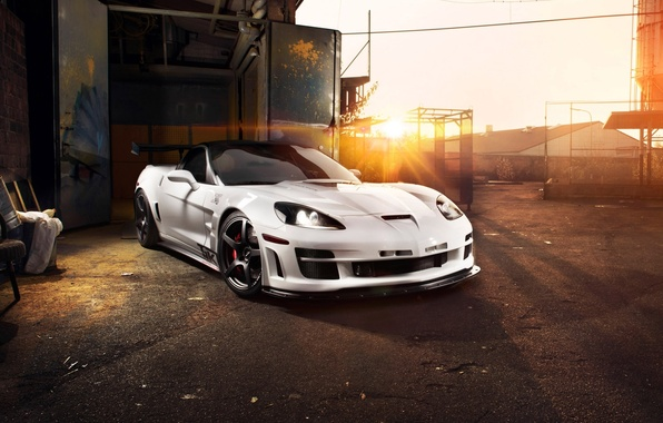 Picture the sky, the sun, tuning, supercar, corvette, Chevrolet, zr1, chevrolet, tuning, the front, Corvette, zakat, …