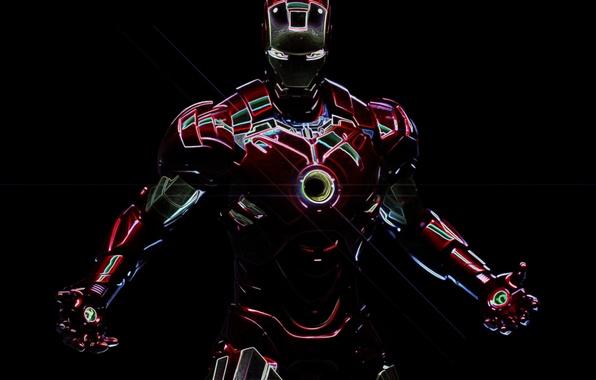 Picture neon, iron man, marvel, Iron man