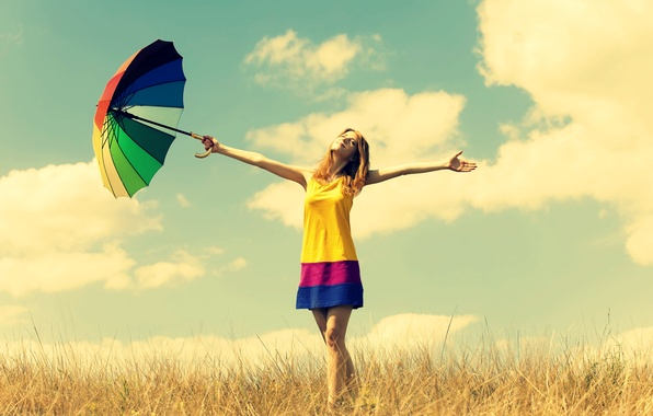 Picture field, summer, the sky, freedom, girl, the sun, clouds, happiness, nature, smile, umbrella, background, Wallpaper, …