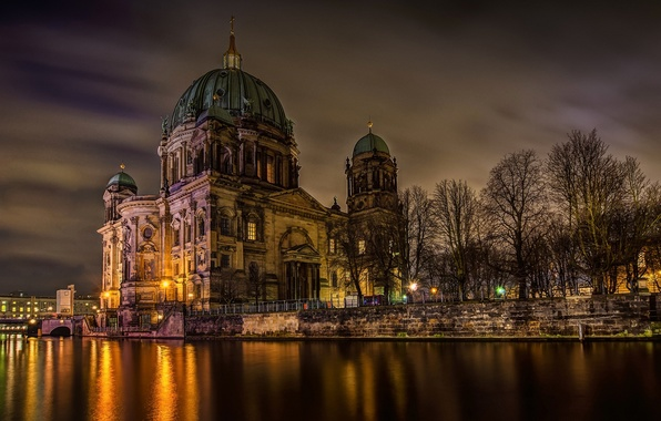 Picture light, trees, night, the city, river, Germany, Germany, Berlin, Berlin, Berlin Cathedral, The Berliner Dom, …