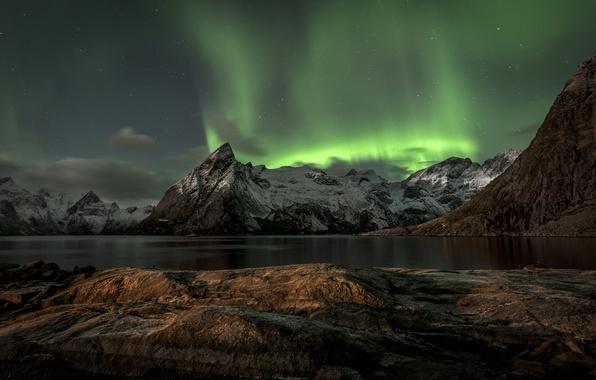 Picture mountains, Norway, mountains, Norway, Aurora Borealis, Lofoten, The Lofoten Islands