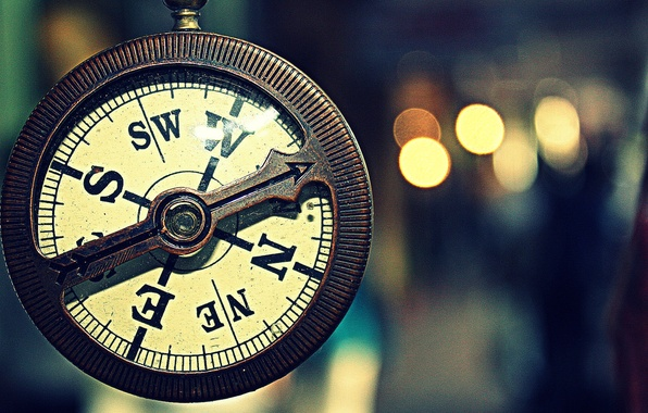 Picture macro, watch, vintage, Compass
