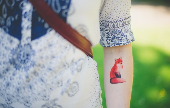 Picture animal, figure, hand, tattoo, Fox, red, Fox