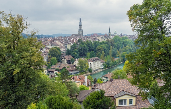 Picture trees, river, building, Switzerland, panorama, Switzerland, Bern, Bern
